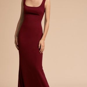 BHDLN Maroon square-neck fitted formal dress